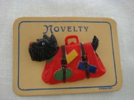Terrier Dog Brooch 1940s /1950's - Vintage Pin on Original Card Black and Red (SOLD)